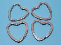 Schlüsselring Herz, ca. 32 mm, silberfarben, 4 Stück