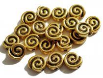 Schnecke, ca. 9 x 8 x 5 mm, goldfarben, 10 Stück