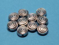 Schnecke, Sonne ca. 8 mm, antiksilber, 10 Stück