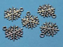 Schneeflocke Anhänger, ca. 20 x 15 mm, 5 Stück