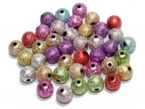 Stardust Perlen, Acryl, ca. 8 mm, bunt, 50 Stück