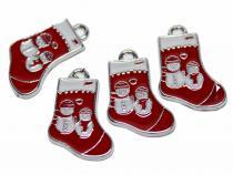 Nikolausstiefel mit Schneemännern, rot, 4 Stück