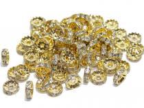 Strassrondell, rund, ca. 10 mm, goldfarben, 10 Stück