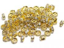 Strassrondell, rund, ca. 8 mm, goldfarben, 10 Stück