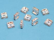 Strassrondell, quadratisch, ca. 6 mm, silberfarben, 10 Stück