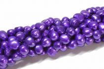 Süßwasser Zuchtperle, violett, ca. 7 - 8 mm, barock, Strang