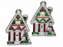 Haus Winterhaus, Weihnachtshaus, emailliert, 2 Stück