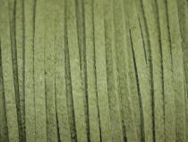 0,45 €/m Velour Wildleder Imitat Band, ca. 3 x 1,5 mm, 3 Meter, Farbwahl olivgrün