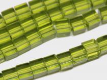 Glaswürfel, ca 6  mm, hellgrün, 1 Strang