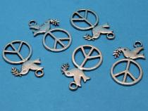 Peace & Taube mit Ölzweig, 5 Stück
