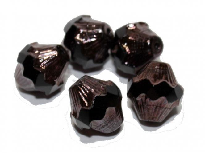 Glasschliff Bicone, 11x10mm, black opaque lustered, 5 Stück