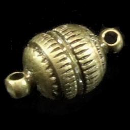 Magnetverschluss, Kugel, ca. 8 mm, gerieft, bronzefarben, 4 Stück