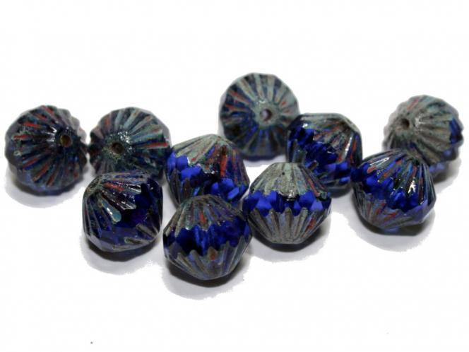 Glasschliff Bicone, 9mm, blue lustered, 10 Stück