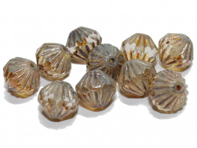 Glasschliff Bicone, 9mm, crystal lusteded, 10 Stück