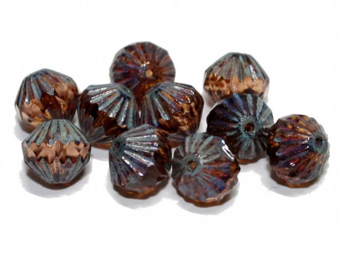 Glasschliff Bicone, 9mm, rosaline lustereded, 10 Stück