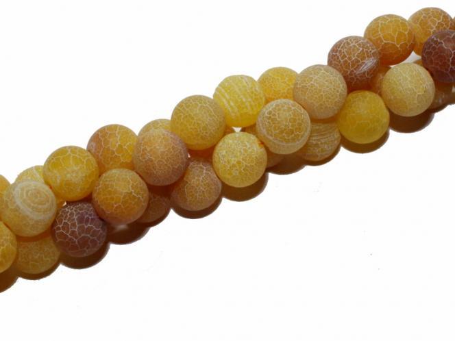 Gelbachat Kugel,  ca. 10 mm, verwittert, Strang