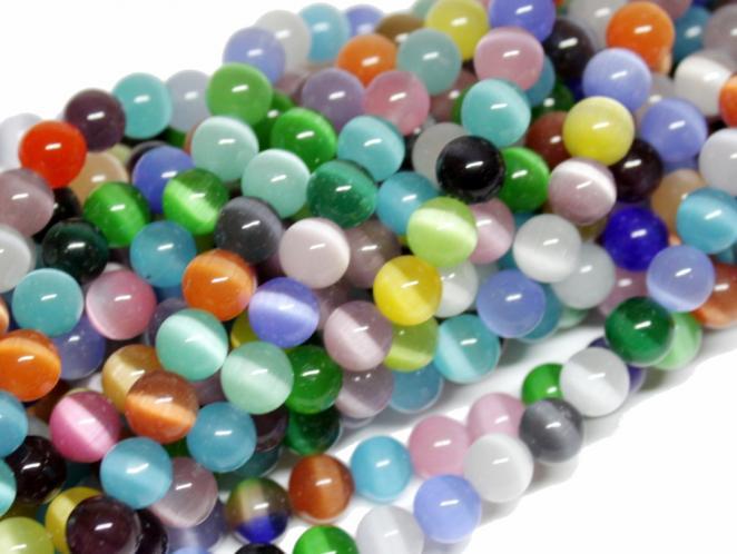 Cat-Eye-Perle, Kugel, ca. 8 mm, bunt gemischt, Strang