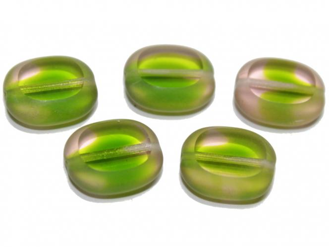 Böhmische Glasperlen Button, green moss, 14x12 mm, 5 Stück