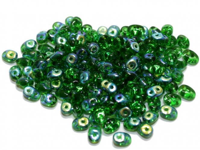 0,18 €/g Duobeads, Twinbeads. green lustered, 10 Gramm
