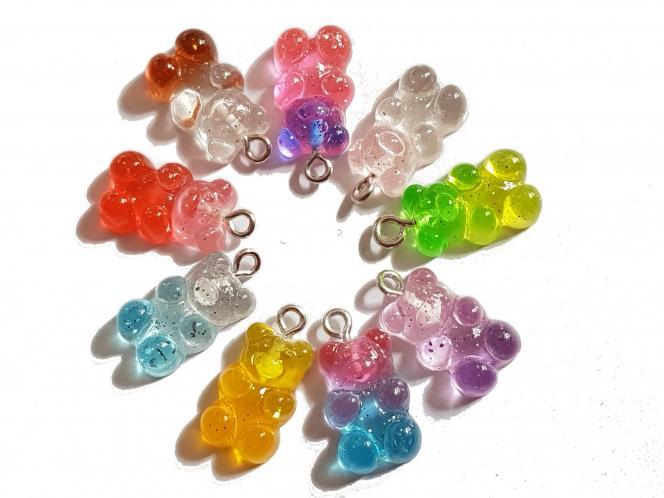 Gummibärchen Anhänger mit Glitzer zweifarbig Charms, 10 Stück, Farbmix