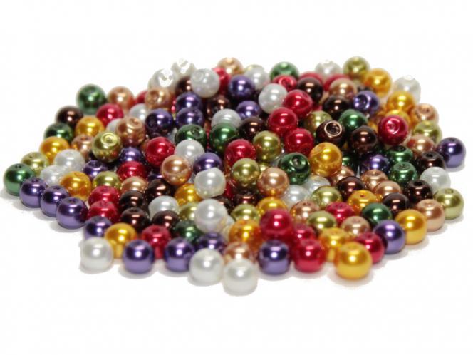 Glasperlen, Glaswachsperlen, 6 mm, 50 St., Farbmix Auswahl Luster Pealized Mix