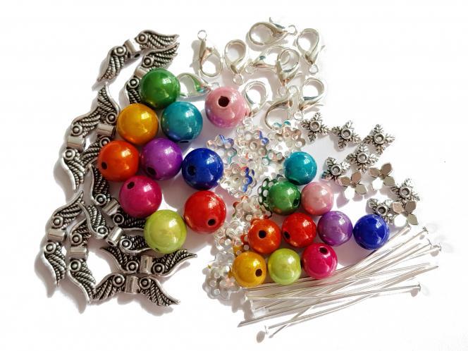 Bastel-Set für 10 Engel aus bunten Perlen