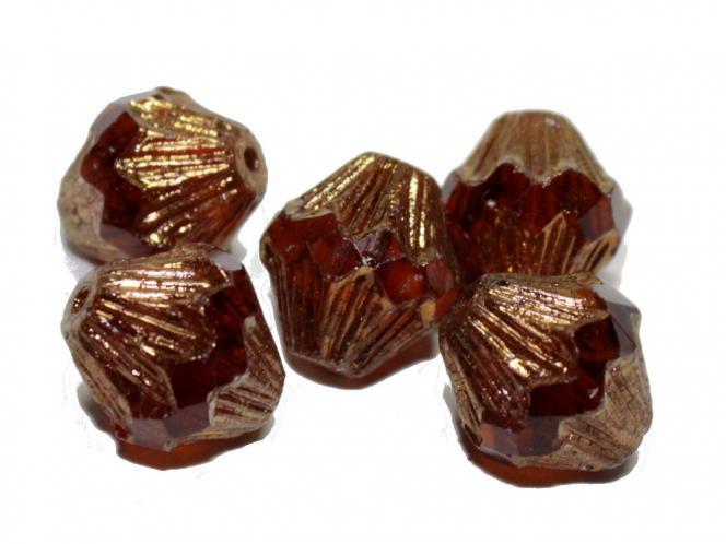 Glasschliff Bicone, 13x11mm, mocca bronze, 5 Stück