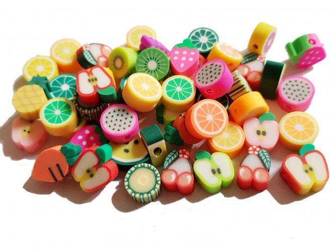 Polymer Perlen Obst, Früchte, ca. 8-12 mm, 50 Stück