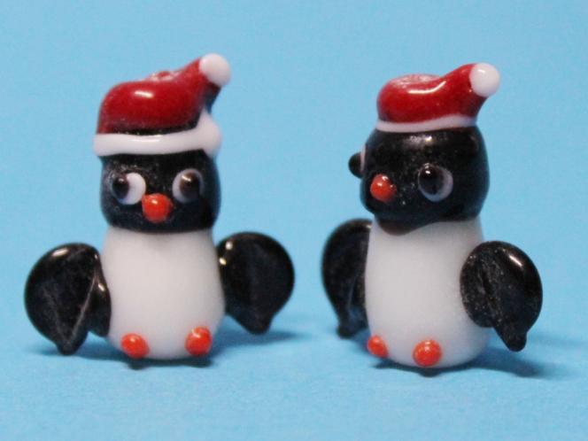 Pinguin Lampworkperle, ca 22 x 12mm, 2 Stück