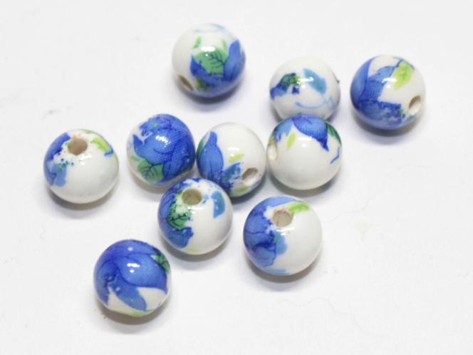 Porzellan Kugel blaue Blume, ca. 8 mm, 10 Stück