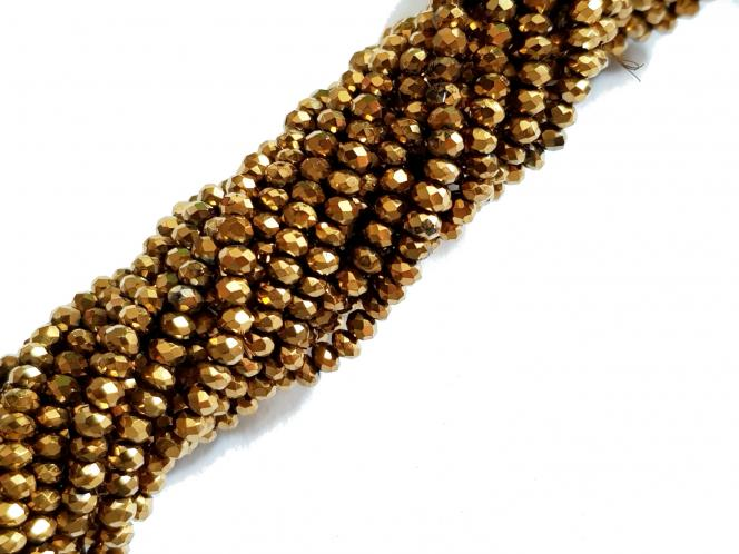 Rondell, ca. 2,5 x 2 mm, goldfarben bedampft, Strang
