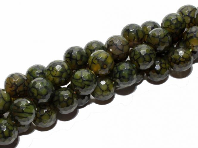 Spinnennetz Achat Kugel, ca. 12 mm,  fac, grün-gelb, Strang