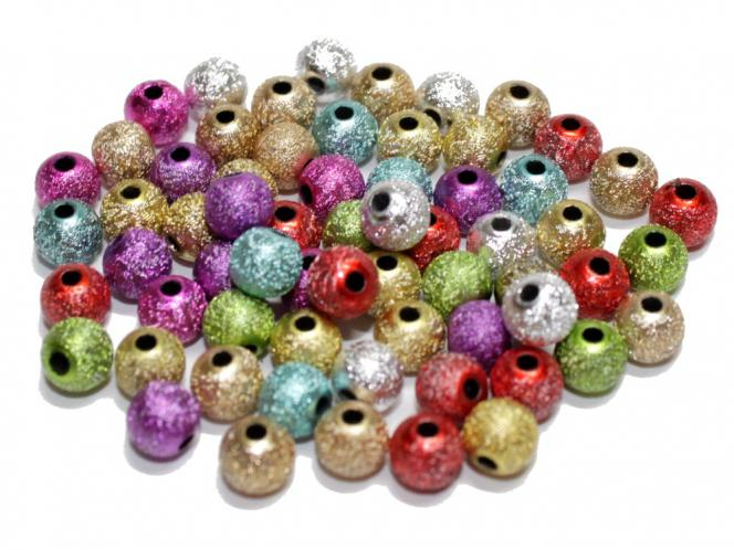 Stardust Perlen, ca. 6 mm, bunt, Acryl, 75 Stück