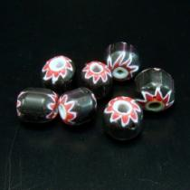 Chevron Perle, ca. 10 mm, schwarz-rot