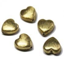 Herz, ca. 12  mm, gebürstet, 925/- Silber vergoldet