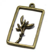 Blume im Rahmen mit Öse, bronze, 5 Stück