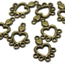 Herz Anhänger Chandelier, bronzefarben, 10 Stück
