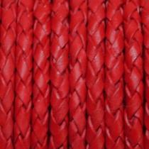 Lederband geflochten, rot, ca. 3 mm, 1 Meter