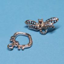 Knebel-Verschluss Libelle, filigran, 2 Stück
