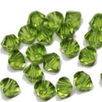 Böhm. Glasschliffperle, Bicone, Peridot, 25 Stück