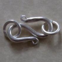 S-Haken mit Binderingen, ca. 2 mm, 925/- Silber