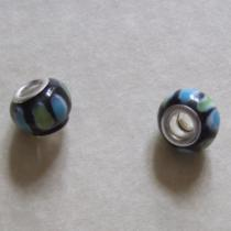 Modulperle schwarz-bunt, ca. 12 x 9 mm